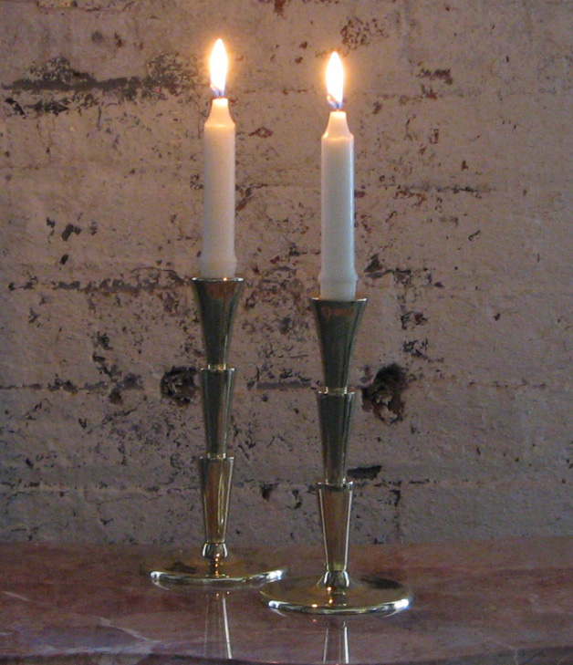Post image for Cubist Art Deco Brass Candlesticks